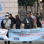 Pictures: Human rights activists protest outside London Chinese Embassy